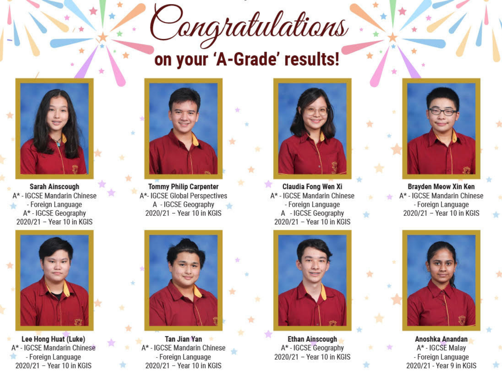 'A-Grade' Results for KGIS students!